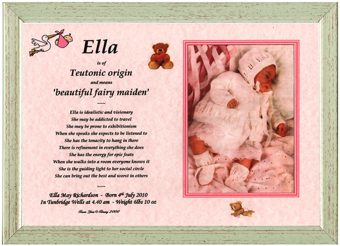 Looking for unique personalised new born baby gift ideas youve first name origin gift girl negle Gallery